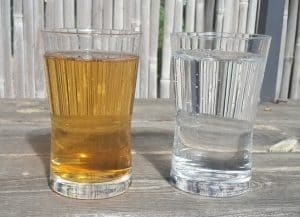 Tannin water on left versus clean water on right