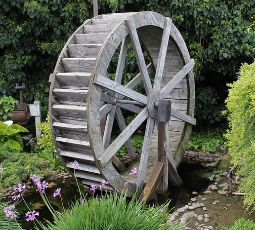 Classic Wooden Waterwheel Design, Powered By A U201cbackshotu201d Water Flow Which  Comes From An Outlet On Top.