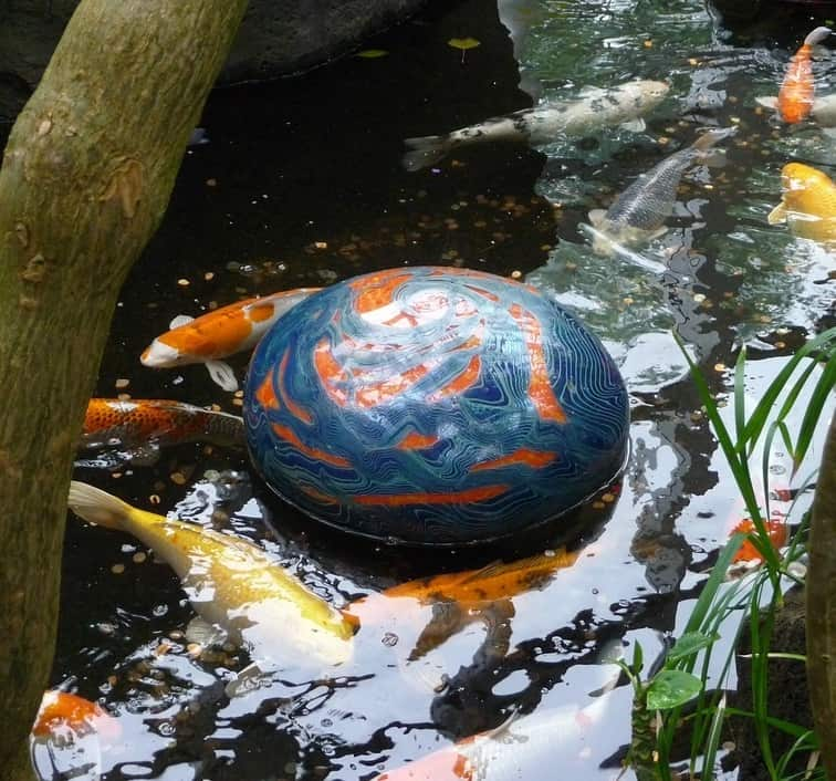 A pond with many white, yellow, black, and orange koi fish