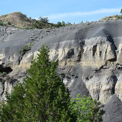 a cliff containing montmorillonite and bentonite clay from compressed volcanic ash