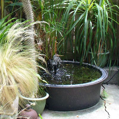 A small above-ground patio pond with fountain and plants
