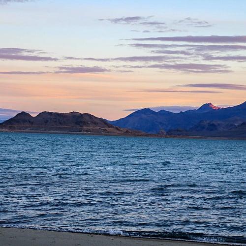 sunrise over Pyramid Lake in Nevada