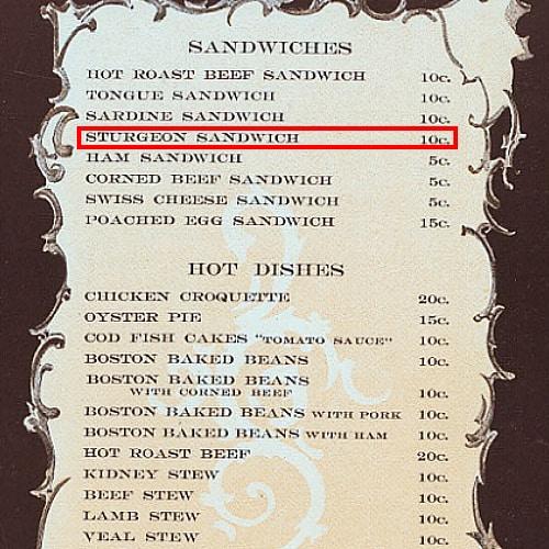 1900 New York menu featuring sturgeon