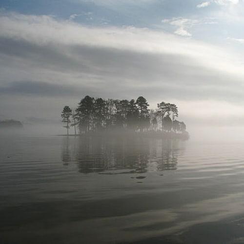 lake wateree reservoir foggy island