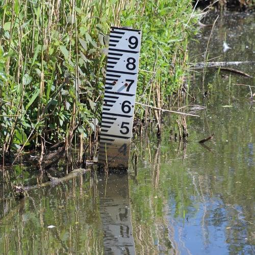 Depth gauge in a pond