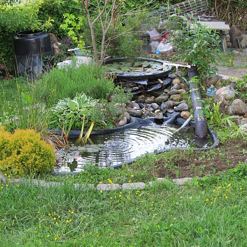 A small pond with plants and rocks around the liner