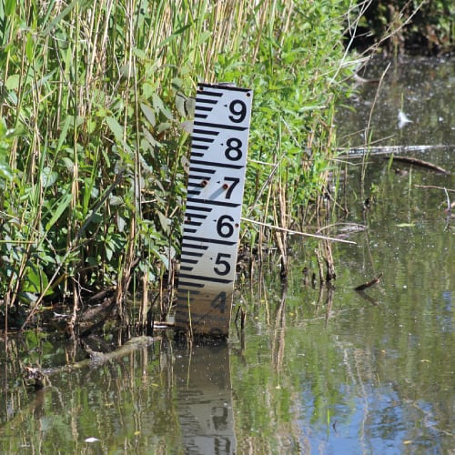 Water level gauge in a pond