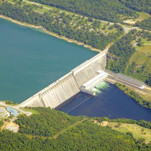 Aerial shot of the Bull Shoals Dam